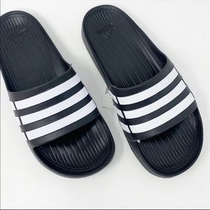Adidas Duramo Three Stripes Slides Sandals NWT 8
